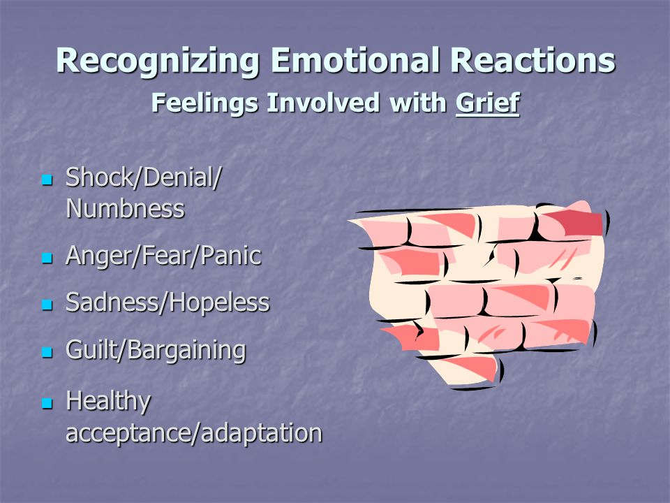 Recognizing Emotional Reactions Feelings Involved with Grief