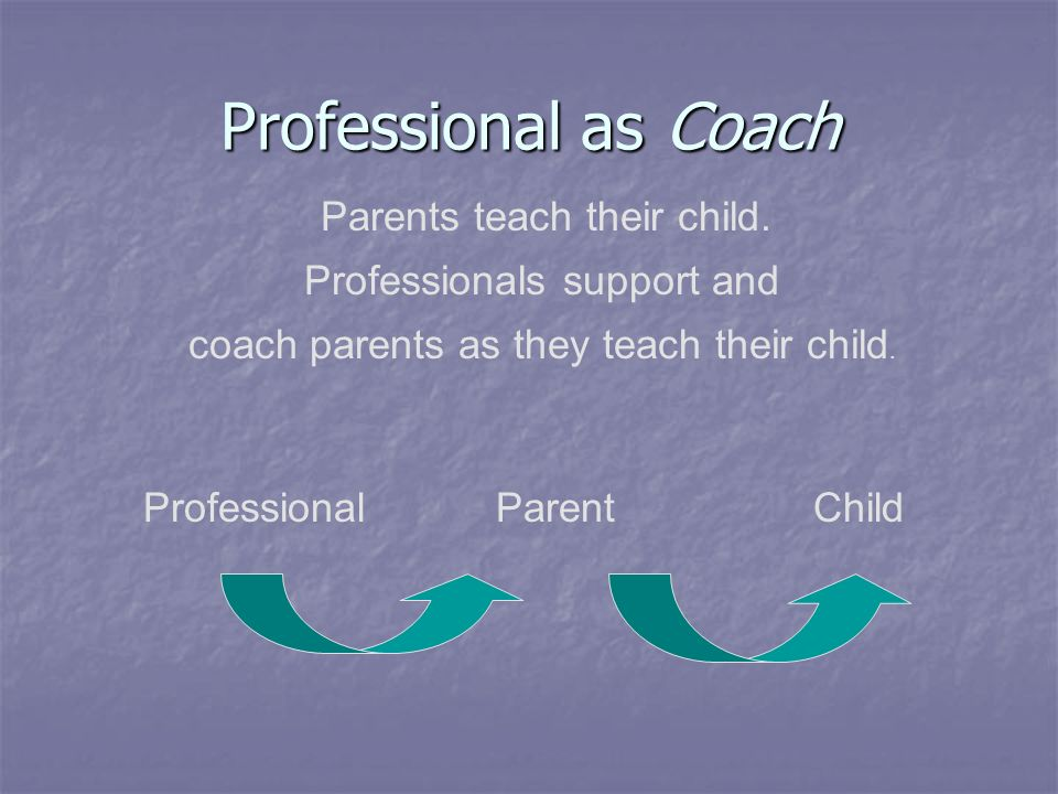 Professional as Coach Professionals support and