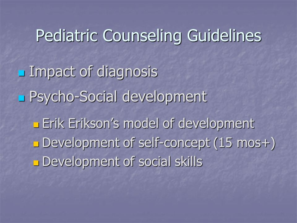 Pediatric Counseling Guidelines