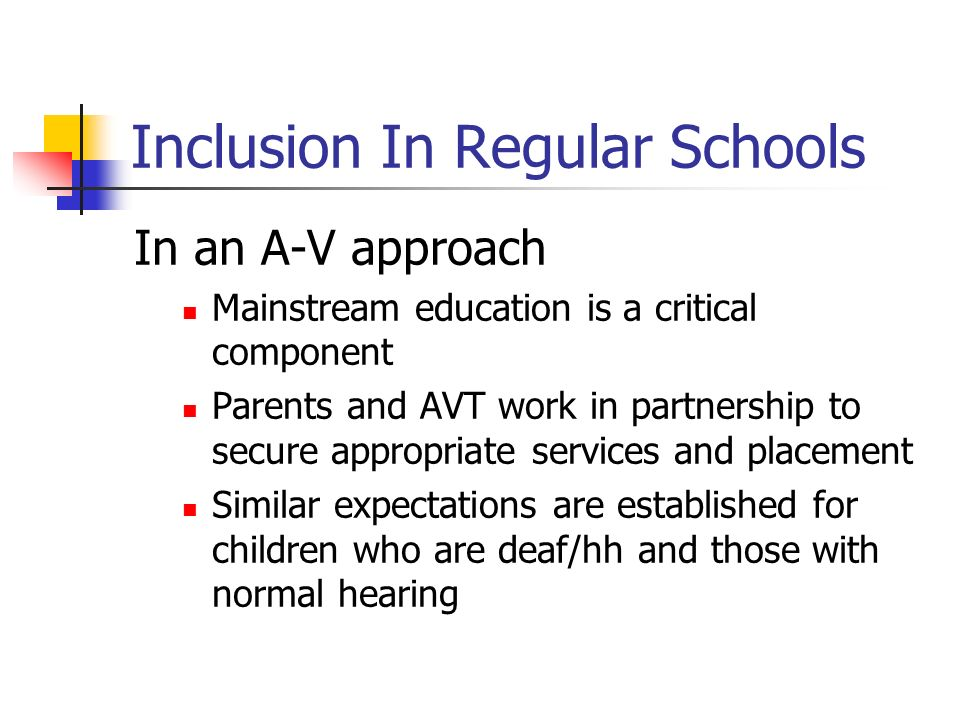 Inclusion In Regular Schools