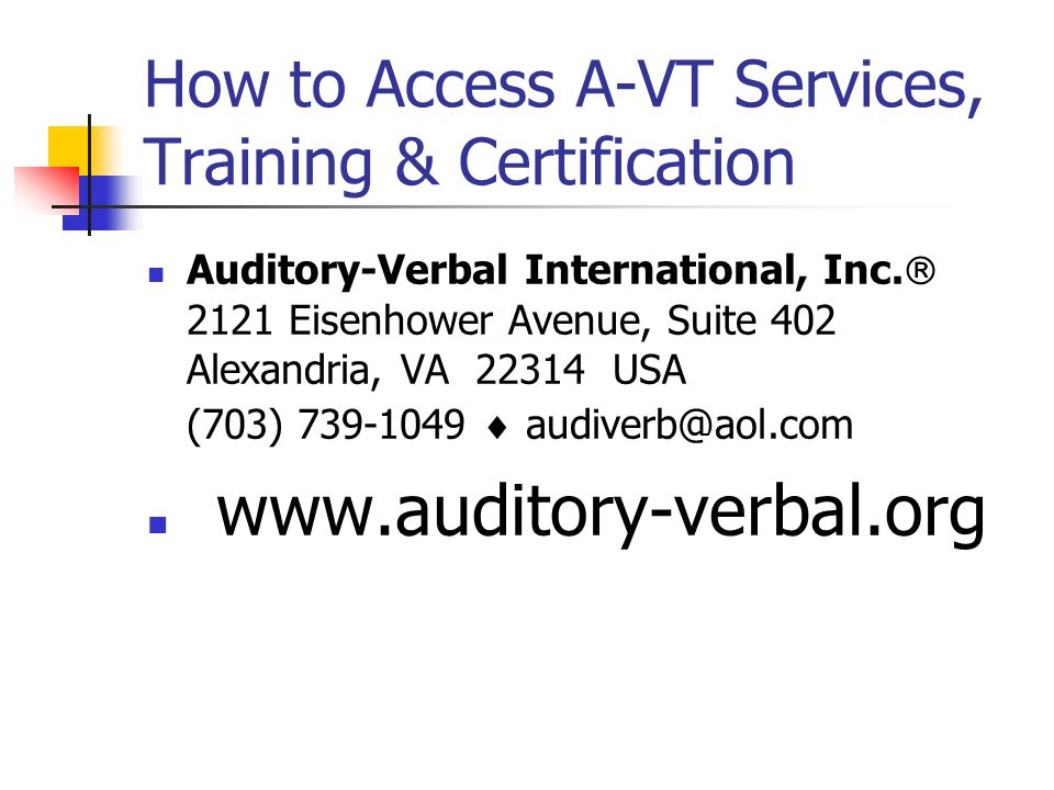 How to Access A-VT Services, Training & Certification