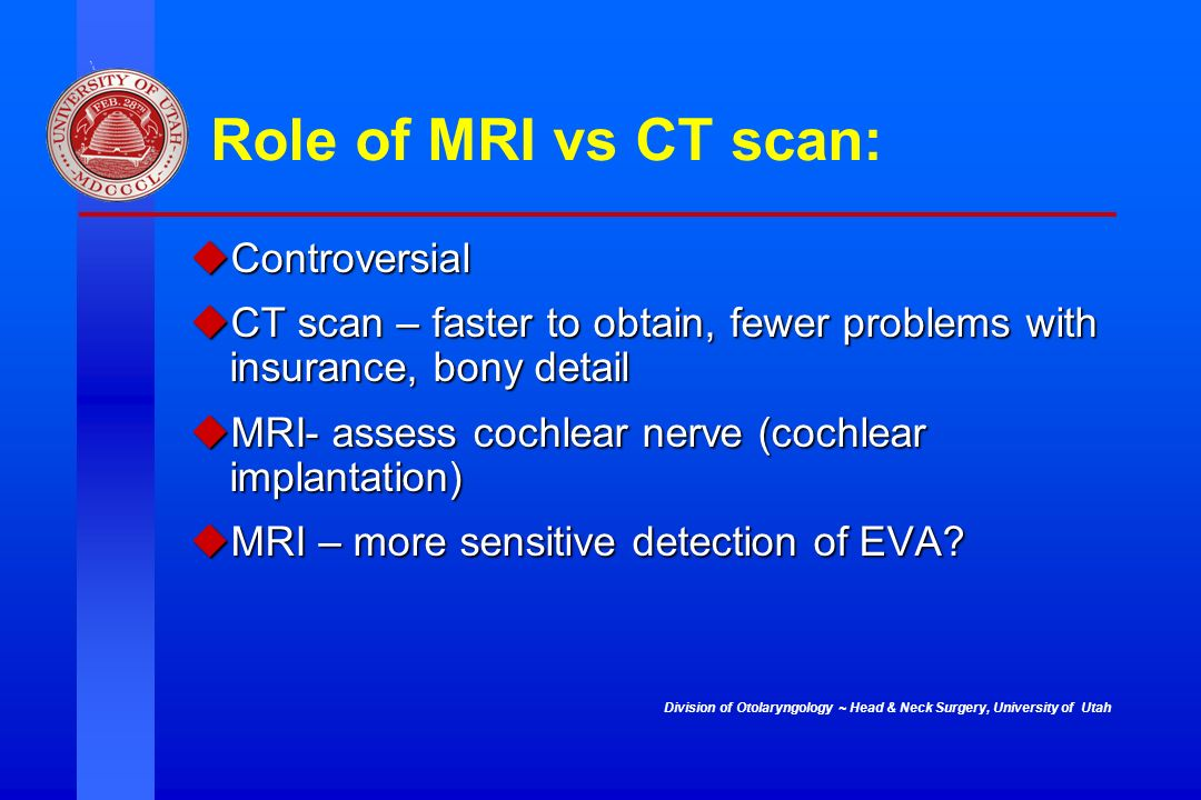 Role of MRI vs CT scan: Controversial