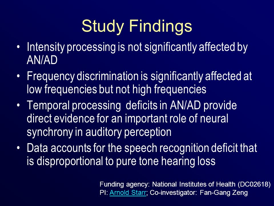 Study Findings Intensity processing is not significantly affected by AN/AD.