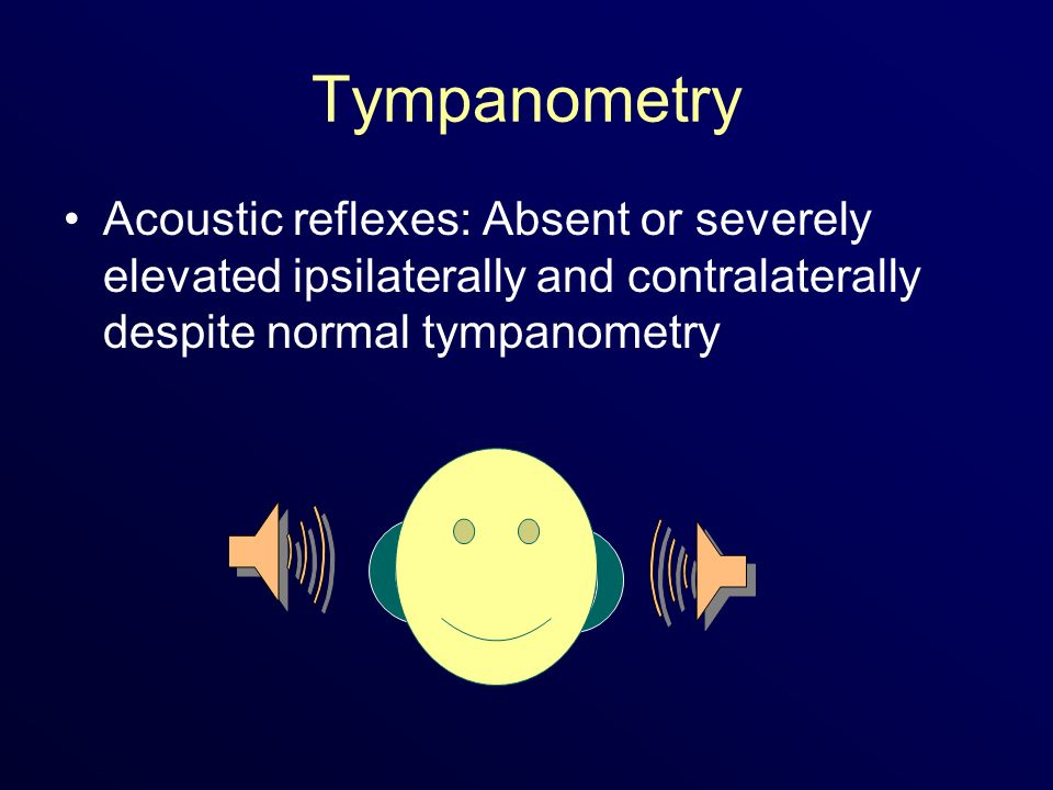 Tympanometry Acoustic reflexes: Absent or severely elevated ipsilaterally and contralaterally despite normal tympanometry.