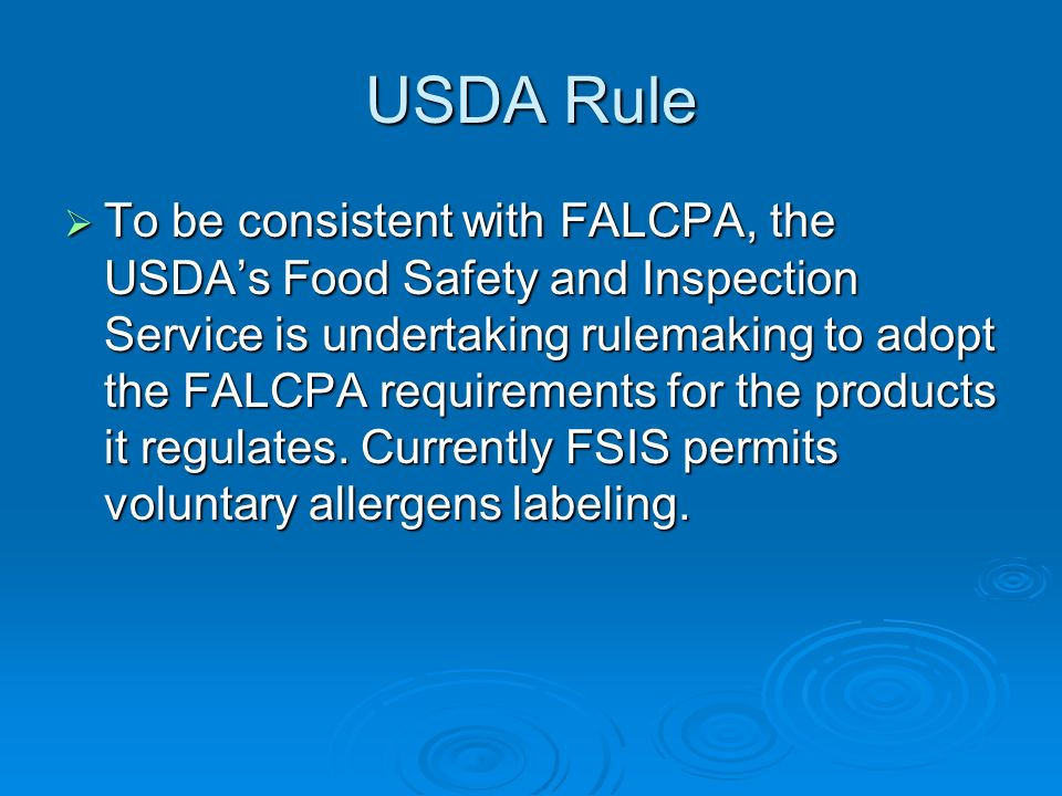USDA Rule