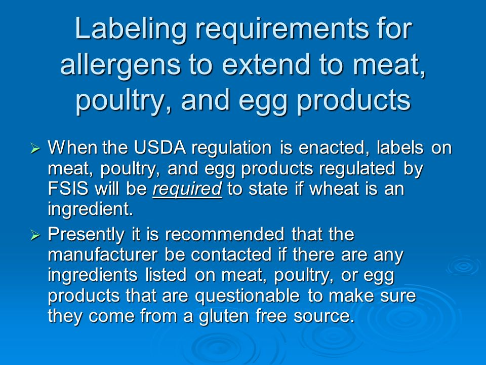 Labeling requirements for allergens to extend to meat, poultry, and egg products