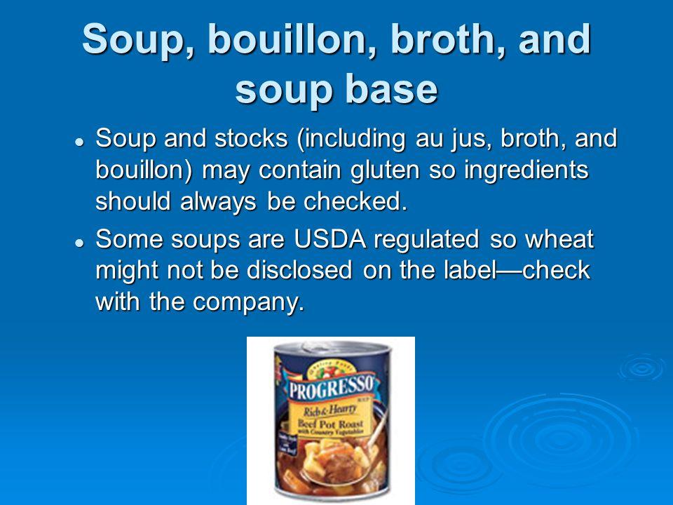 Soup, bouillon, broth, and soup base