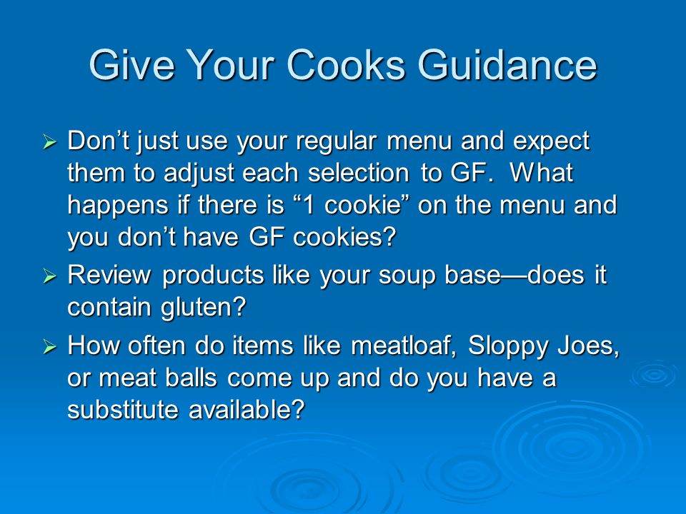 Give Your Cooks Guidance