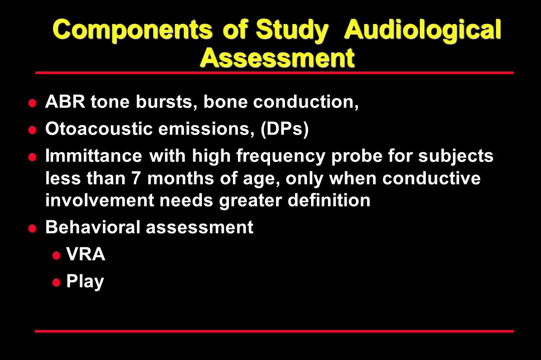 Components of Study Audiological Assessment