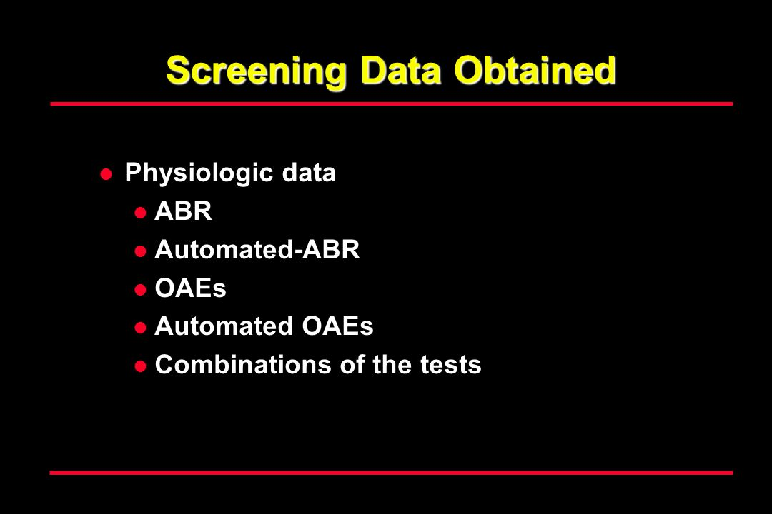 Screening Data Obtained