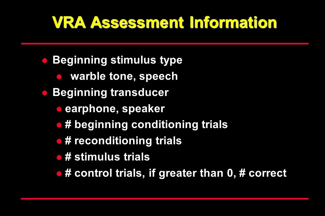 VRA Assessment Information