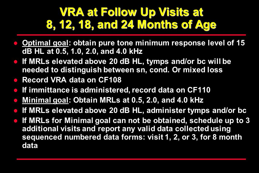 VRA at Follow Up Visits at 8, 12, 18, and 24 Months of Age