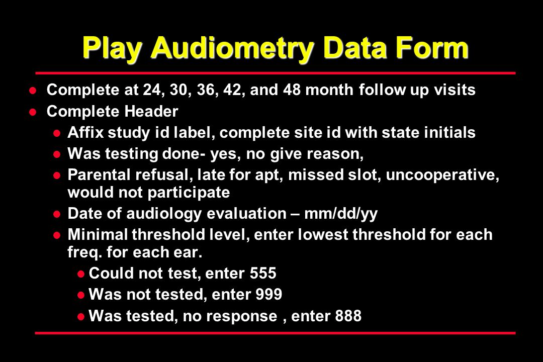 Play Audiometry Data Form