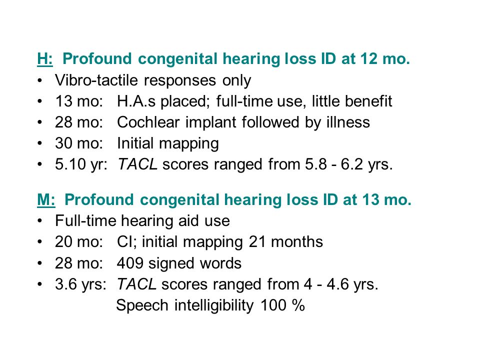 H: Profound congenital hearing loss ID at 12 mo.