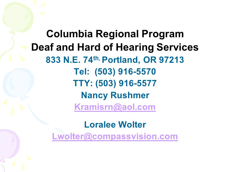 Columbia Regional Program Deaf and Hard of Hearing Services