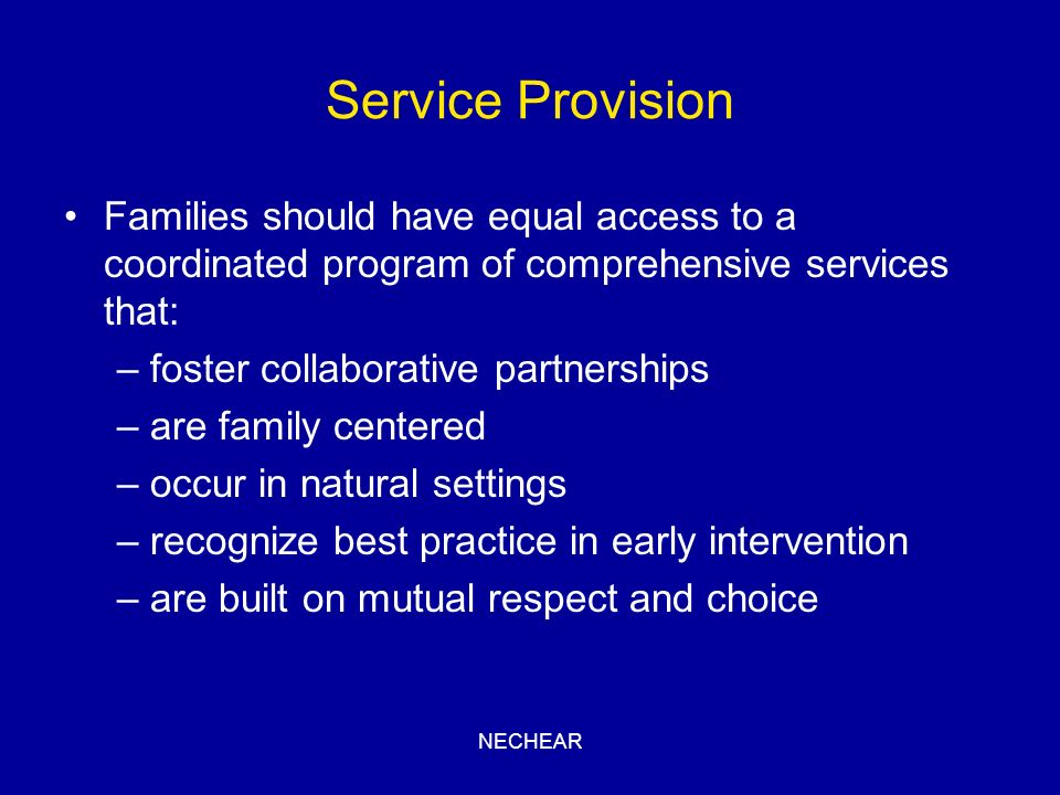 Service Provision Families should have equal access to a coordinated program of comprehensive services that: