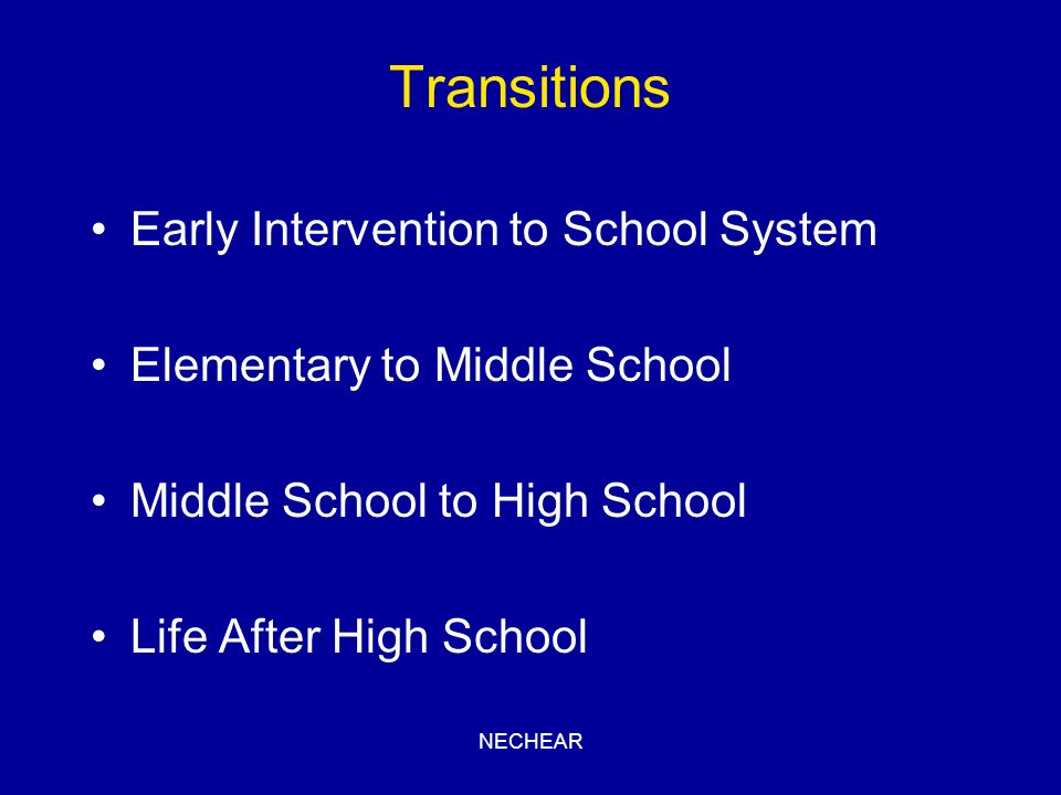 Transitions Early Intervention to School System