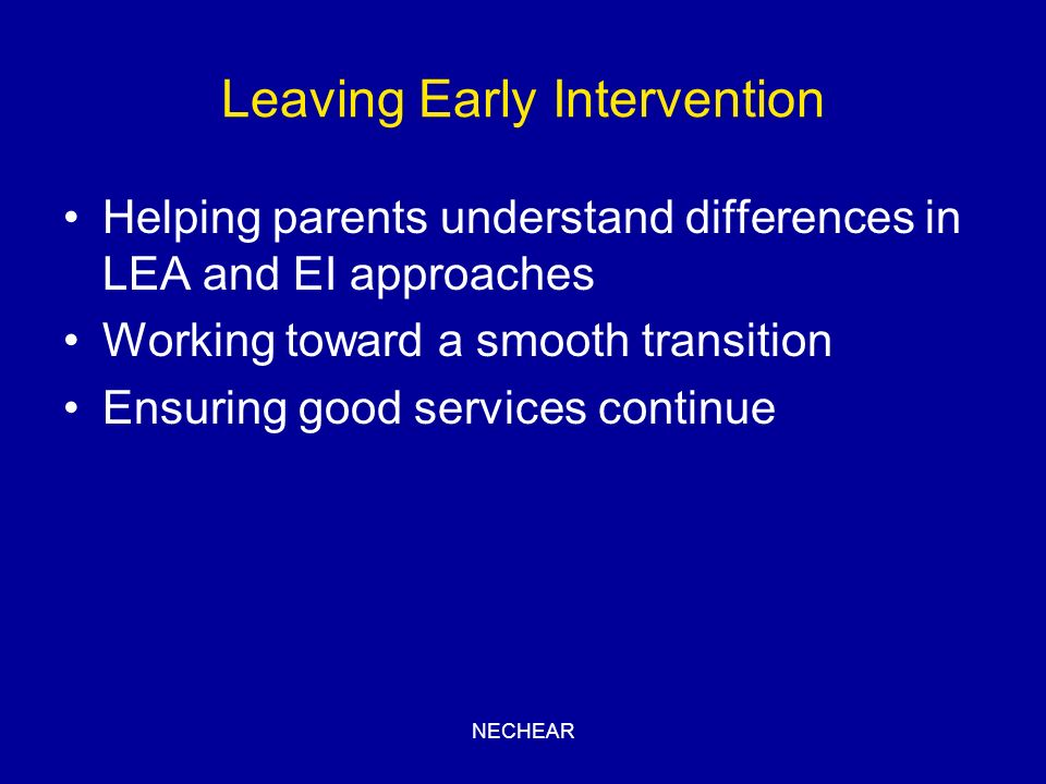 Leaving Early Intervention