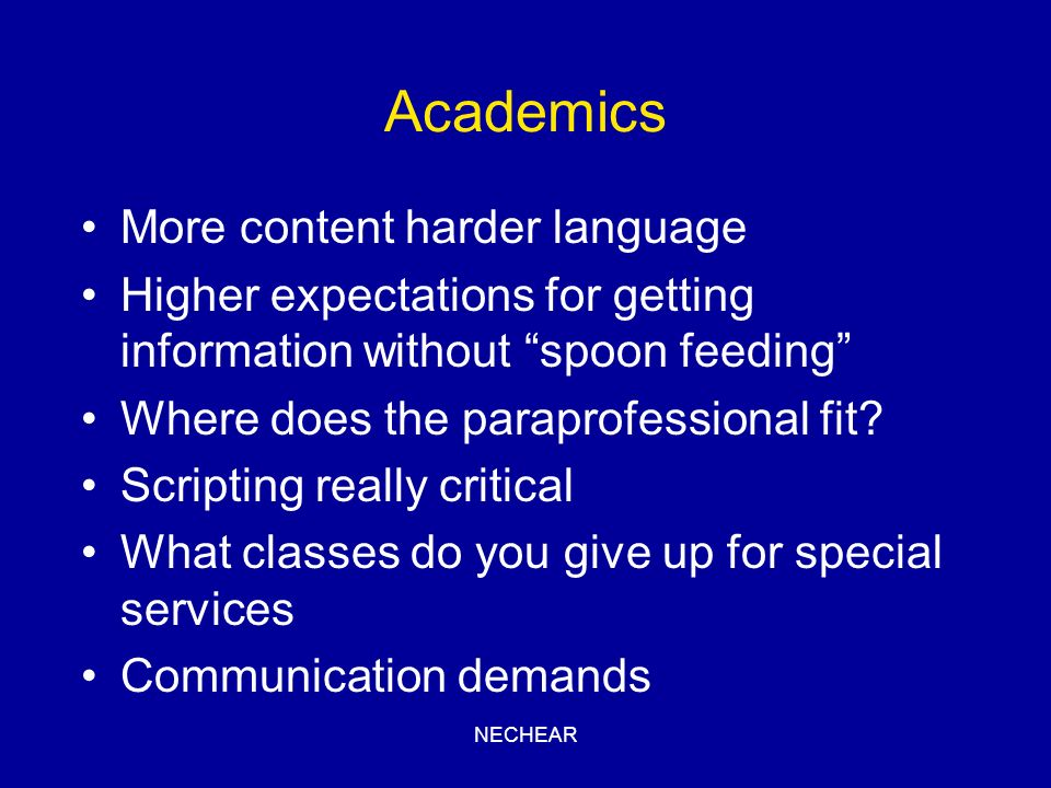 Academics More content harder language