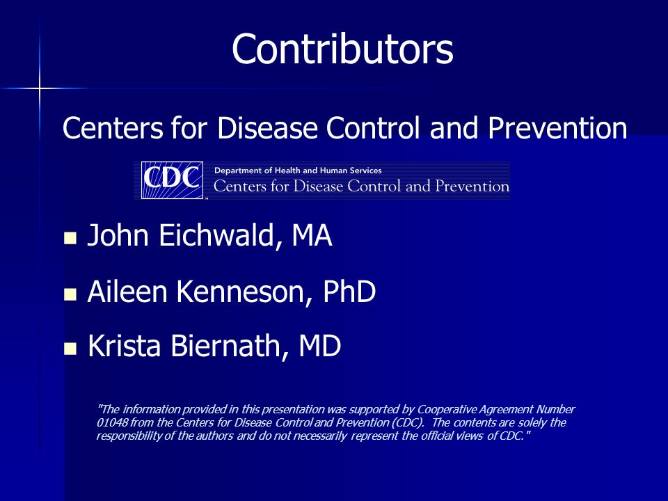Contributors Centers for Disease Control and Prevention