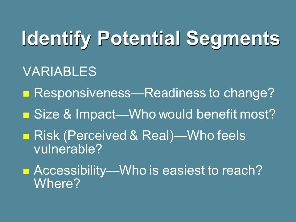 Identify Potential Segments