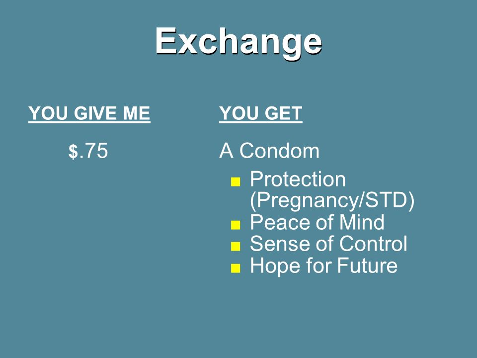 Exchange  Protection (Pregnancy/STD)  Peace of Mind