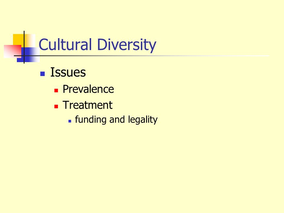Cultural Diversity Issues Prevalence Treatment funding and legality