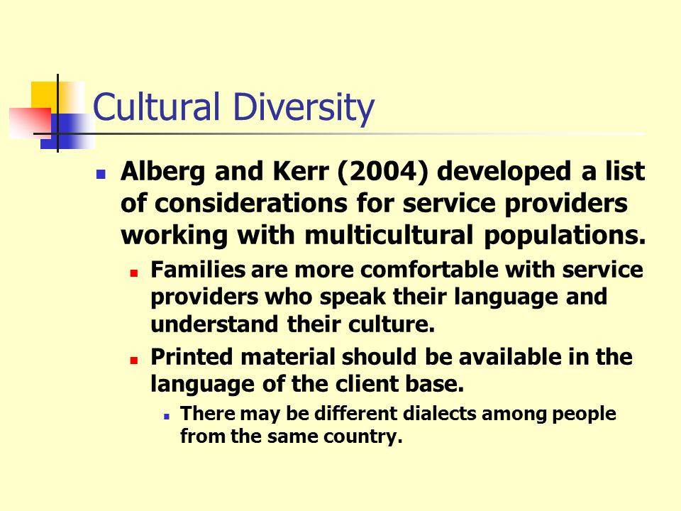 Cultural Diversity Alberg and Kerr (2004) developed a list of considerations for service providers working with multicultural populations.