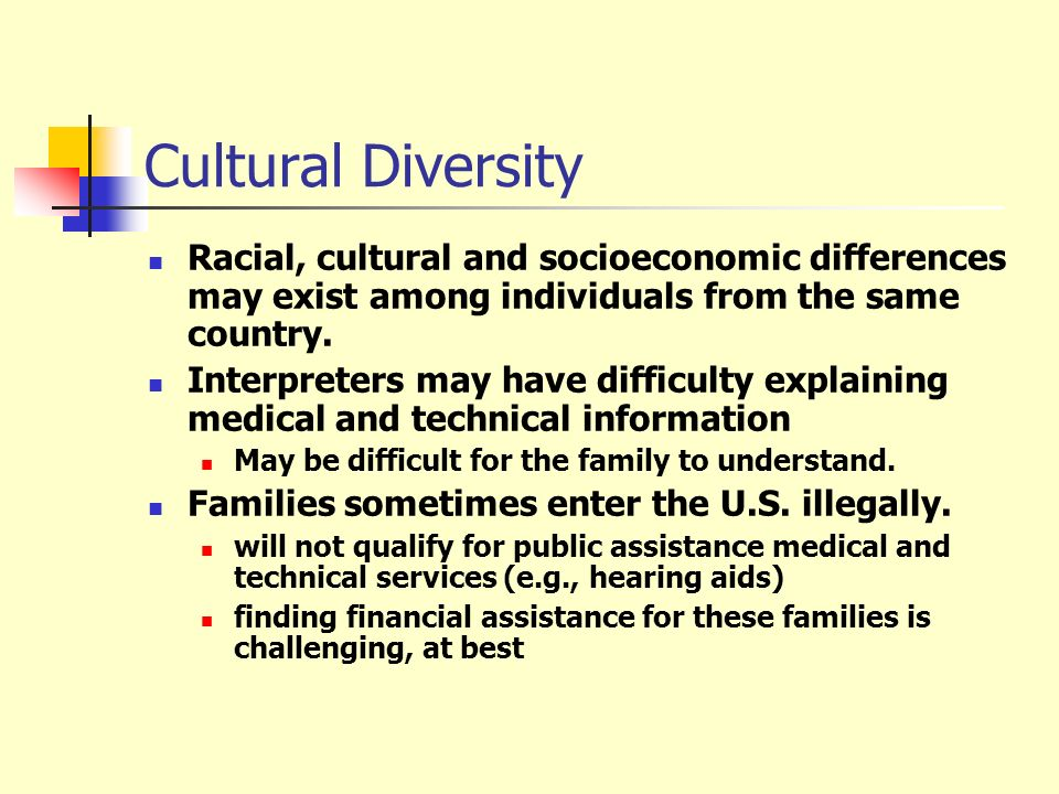 Cultural Diversity Racial, cultural and socioeconomic differences may exist among individuals from the same country.