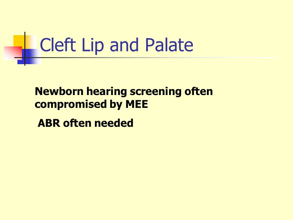 Cleft Lip and Palate Newborn hearing screening often compromised by MEE ABR often needed