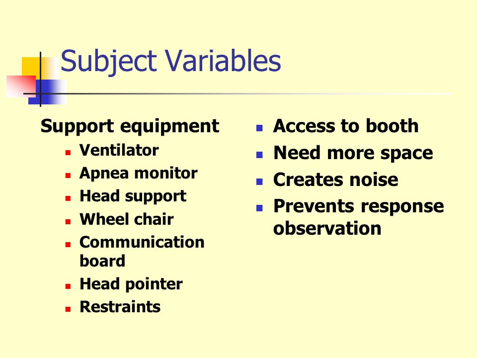 Subject Variables Support equipment Access to booth Need more space