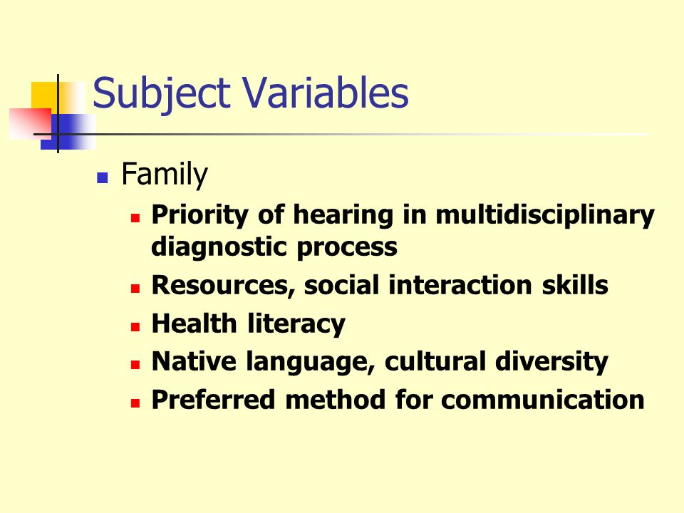 Subject Variables Family