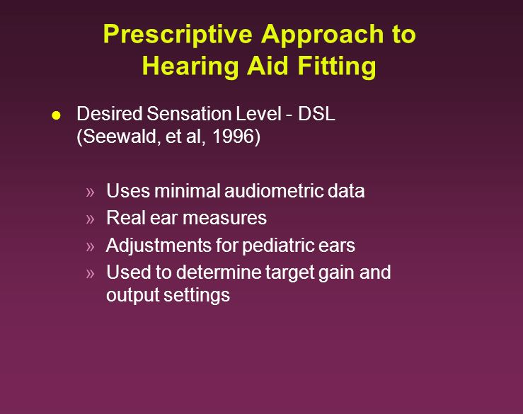 Prescriptive Approach to Hearing Aid Fitting