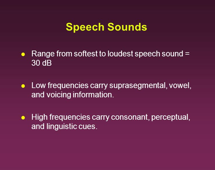 Speech Sounds Range from softest to loudest speech sound = 30 dB