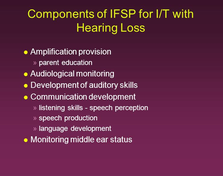 Components of IFSP for I/T with Hearing Loss