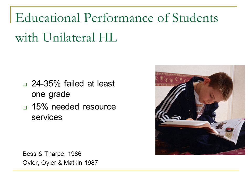 Educational Performance of Students with Unilateral HL