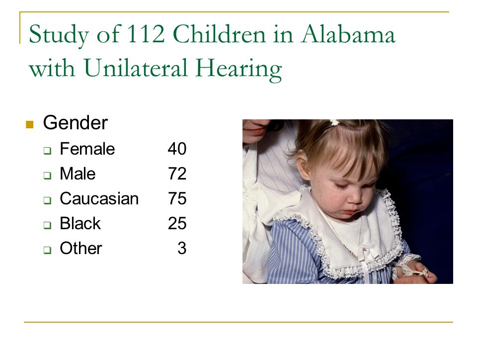Study of 112 Children in Alabama with Unilateral Hearing