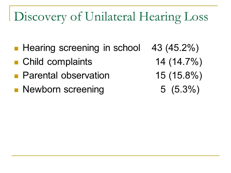 Discovery of Unilateral Hearing Loss