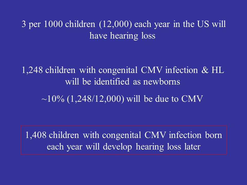 3 per 1000 children (12,000) each year in the US will have hearing loss