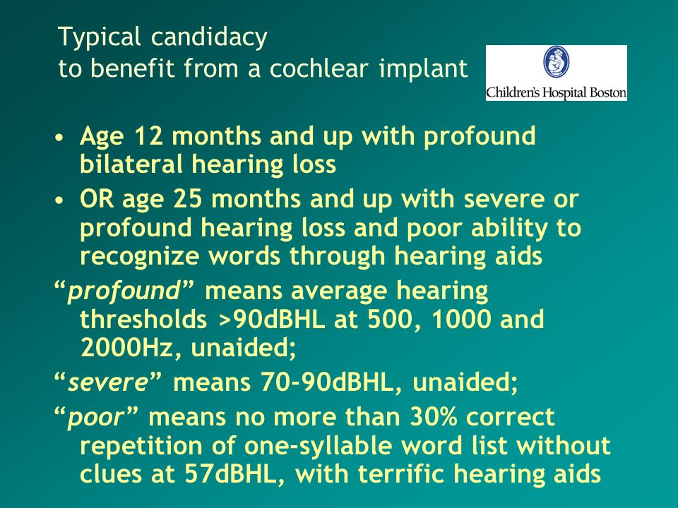 Typical candidacy to benefit from a cochlear implant