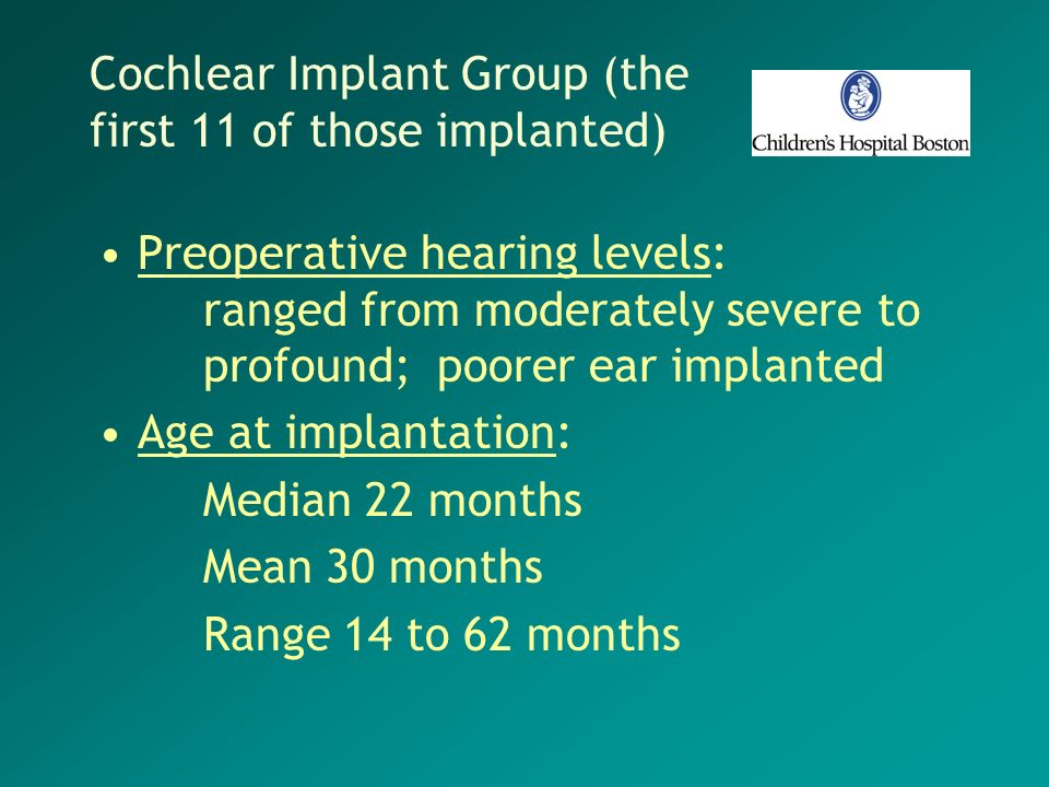 Cochlear Implant Group (the first 11 of those implanted)