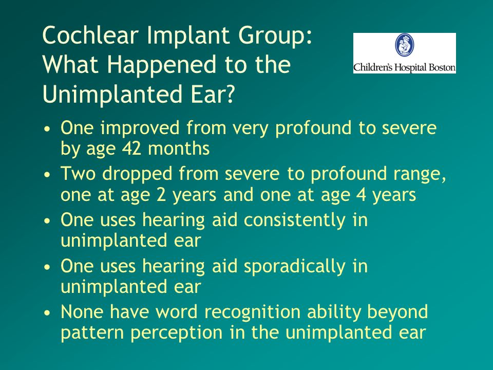 Cochlear Implant Group: What Happened to the Unimplanted Ear