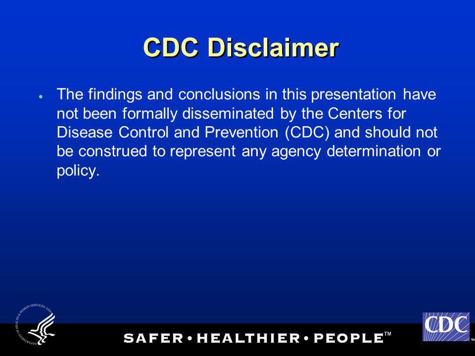 CDC Disclaimer