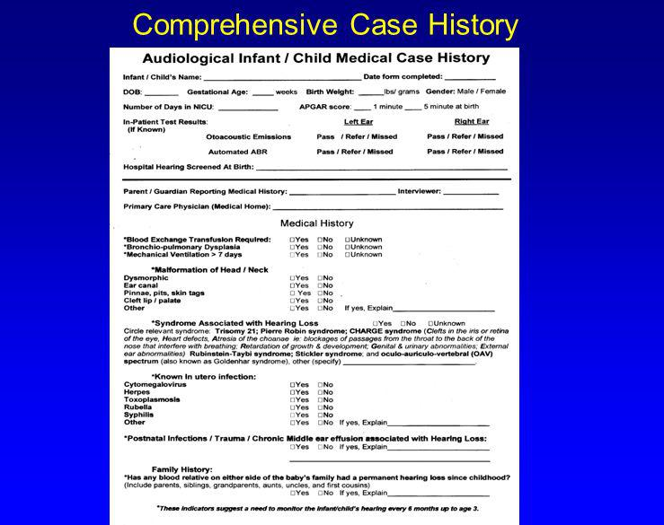 Comprehensive Case History