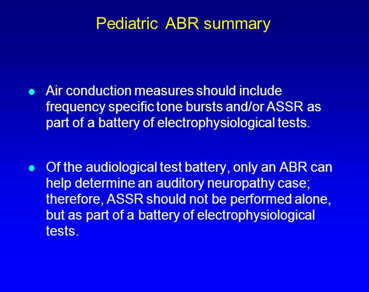 Pediatric ABR summary