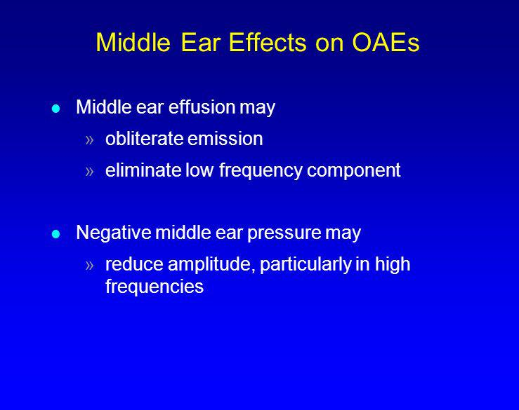 Middle Ear Effects on OAEs