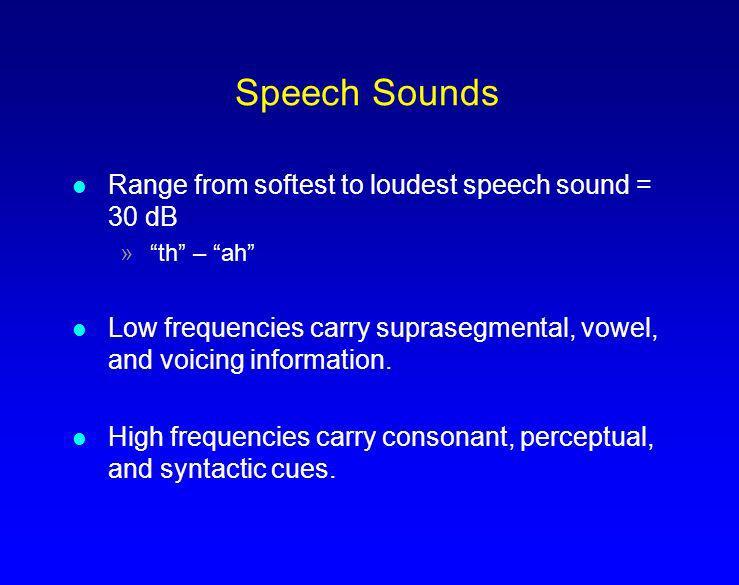 Speech Sounds Range from softest to loudest speech sound = 30 dB