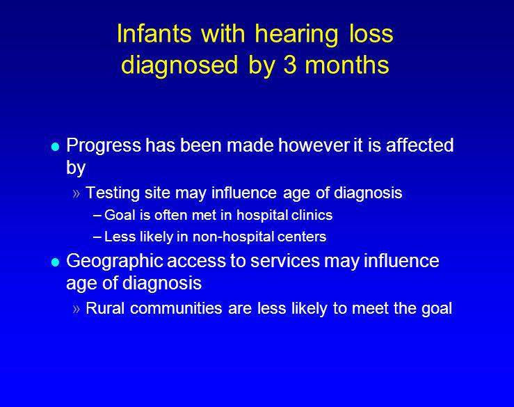 Infants with hearing loss diagnosed by 3 months