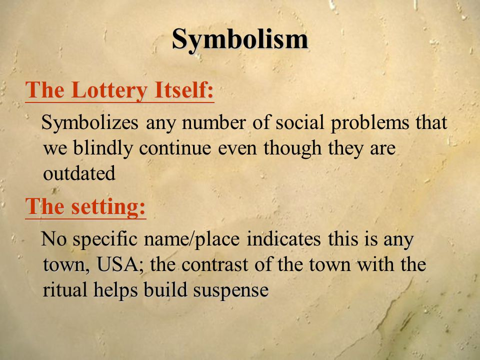 symbolism in the lottery I simply absolutely love shirley jackson's the lottery it is the best short story i  have read i reread it many times to find all the symbolism in.