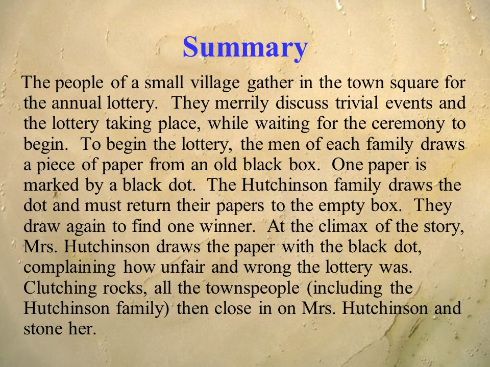 a report on the symbolism and setting in the lottery The lottery and other stories study guide contains a the suburban setting of the lottery is the villagers refuse to replace it—another symbol of their.